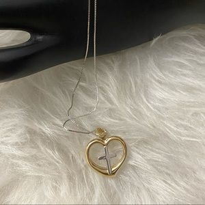 Jewelry - 10K Solid Gold Cross Heart Necklace